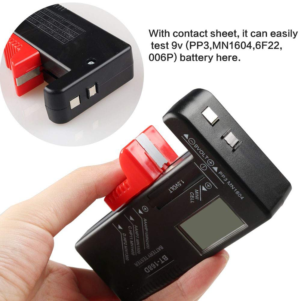 BT-168D Haushaltsbatteriepr/üfer f/ür kleine Batterien Roawon Digitaler Batterietester f/ür AAA AA C D 9 V 1,5 V