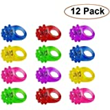 Light Up Rings for Kids- Assorted LED Spikey Glow Light Rings- Pack of 12 Bumpy Rubber Rings For Party Supplies, Party Games & Crafts, Bulk Party Favors - By Kidsco