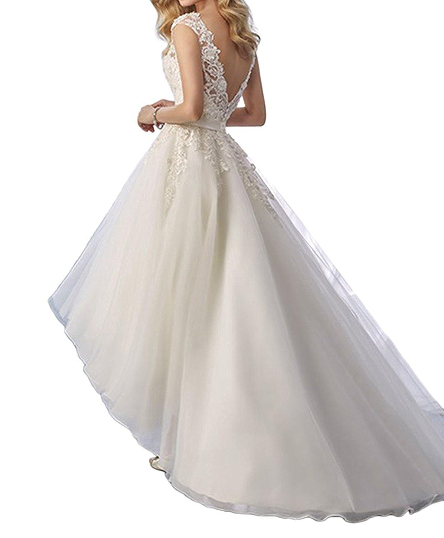 YASIOU Hochzeitskleid Tüll Damen Standesamt Weiß Hinten Lang Vorne ...