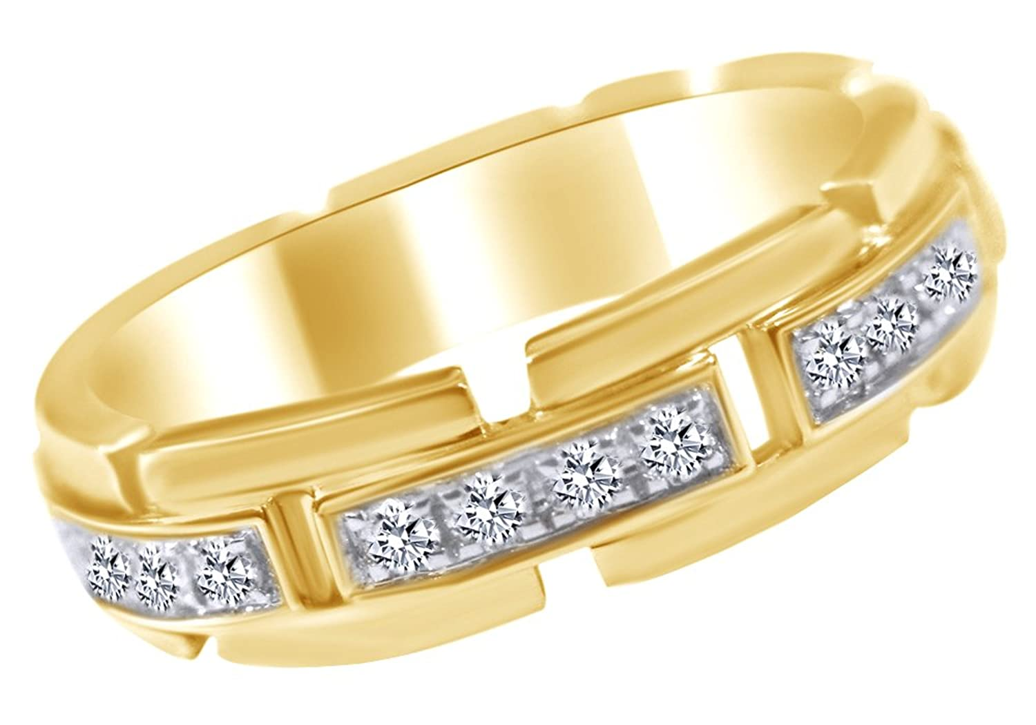 1/2 Carat White Natural Diamond Wedding Band Ring for Men in 10k Solid Gold (0.5 Cttw)