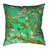 ArtVerse Vincent Van Gogh Almond Blossom in Green x Floor Pillows Double Sided Print with Concealed Zipper & Insert, 40'' x 40''