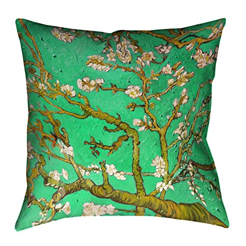 ArtVerse Vincent Van Gogh Almond Blossom in Green x Floor Pillows Double Sided Print with Concealed Zipper & Insert, 40'' x 40'' by ArtVerse