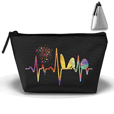 Heartbeat For Easter Bunny And Egg Cosmetic Bags Portable Travel Toiletry Pouch Makeup Organizer Clutch Bag With Zipper