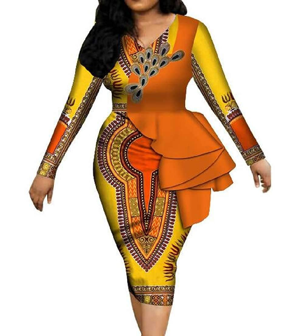 13 CRYYU Women VNeck Ruffle African Print Dashiki Long Sleeve Party Pencil Dress