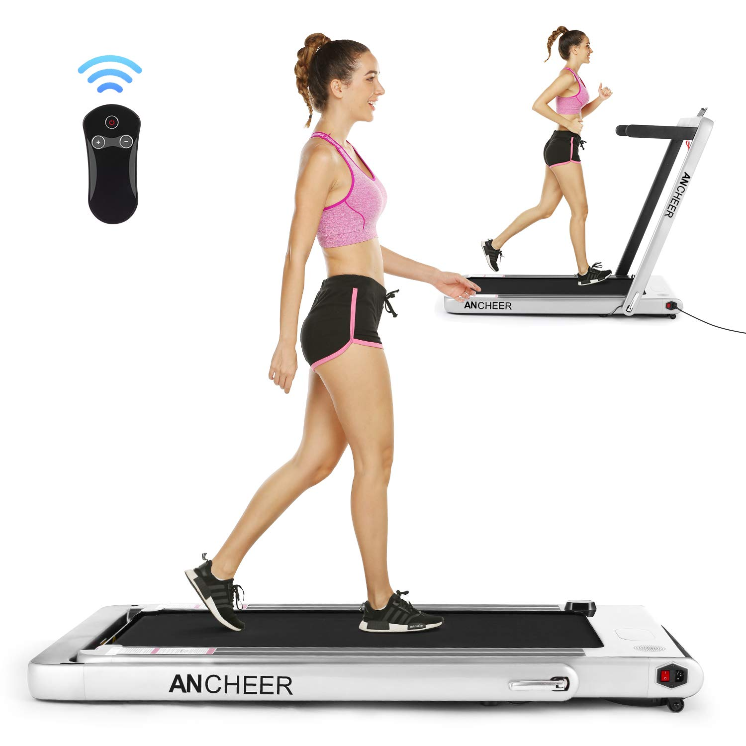 ANCHEER Folding Treadmill, Under Desk Smart Electric Treadmill with Remote Control and Bluetooth Speaker & LCD Monitor, 2 in 1 Walking Running Machine Trainer Equipment for Home Gym (Silver) by ANCHEER