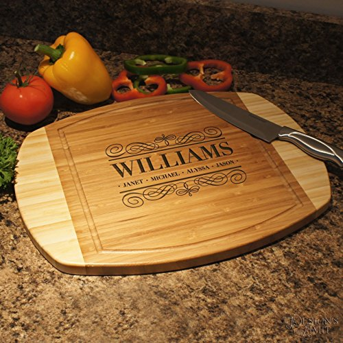 Personalized Bamboo Cutting Board with Family Monogram Design Options