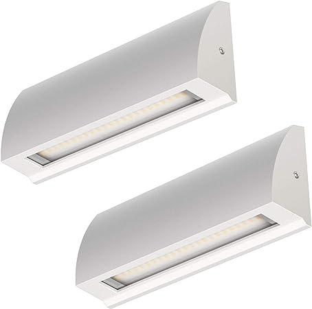 ledscom.de LED lámpara de Pared Segin lámpara de Escalera para Interior y Exterior, Plano, Aufbau, Blanca cálida, 400lm, 2 UDS: Amazon.es: Electrónica