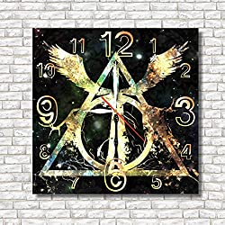 Harry Potter - Deathly Hallows 11.8'' Handmade Wall Clock - Get unique décor for home or office – Best gift ideas for kids, friends, parents and your soul mates