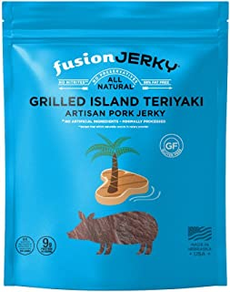 product image for Fusion Jerky Grilled Island Teriyaki Artisan Pork Jerky, 2.75 oz Snack Pack – Gluten Free. No Nitrates. No Added MSG. No Preservatives.