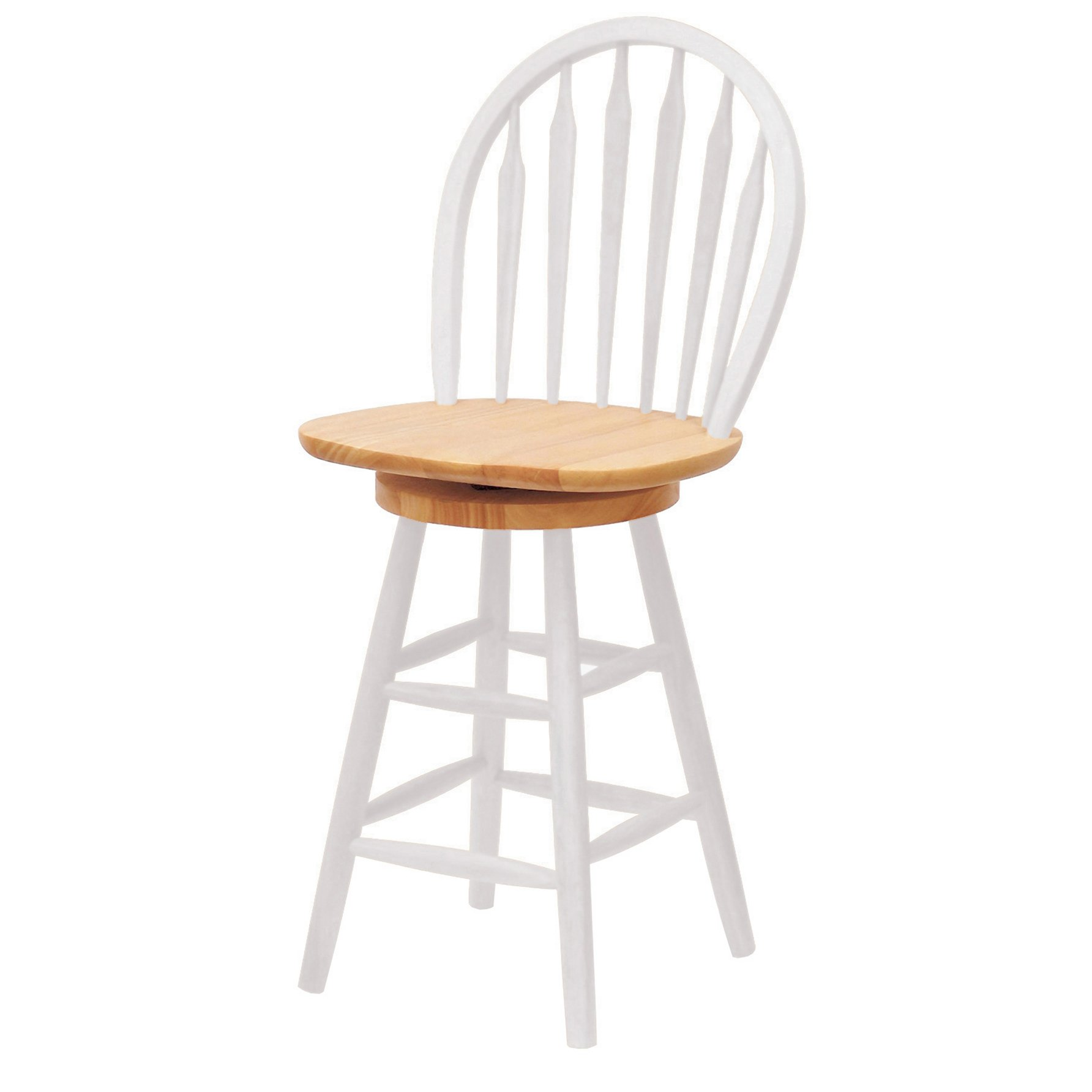 Winsome Wood 24-Inch Windsor Swivel Seat Barstool, Natural/White