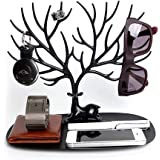 Tinksky Jewelry Holder Stand Display Organizer for Earrings/ Necklaces/ Bracelets Decorative Deer Antler Tree Design / Black Jewelry Organizer Stand Christmas Birthday Gift