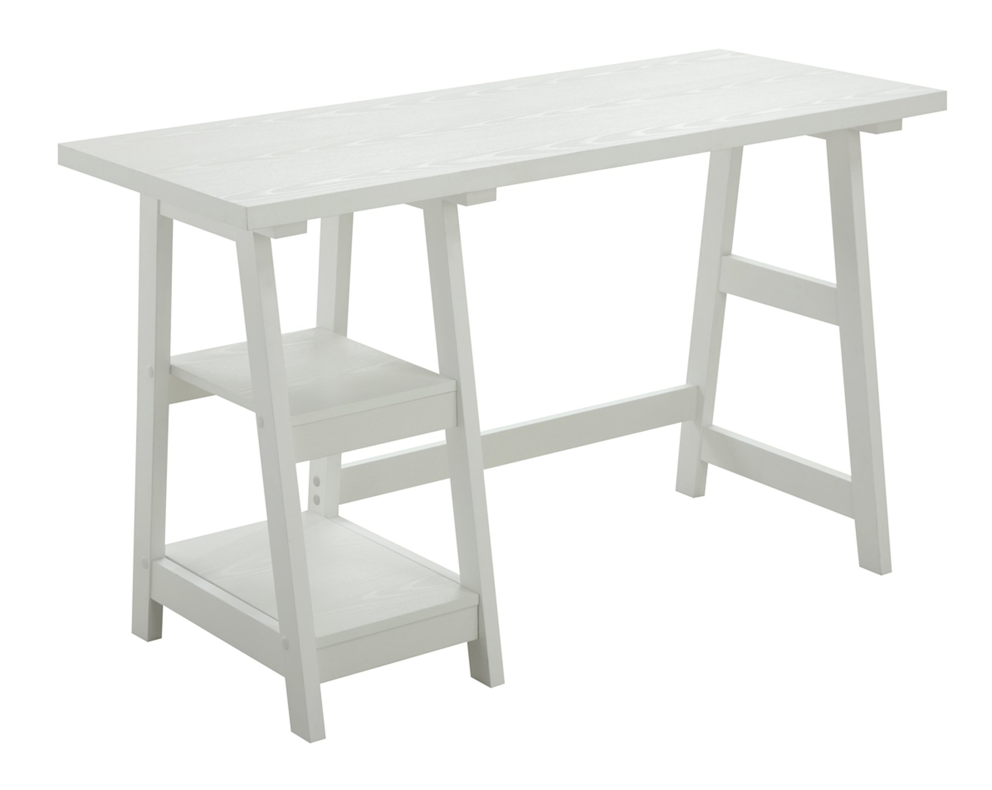Convenience Concepts 090107W Designs2Go Trestle Desk, White, White by Convenience Concepts
