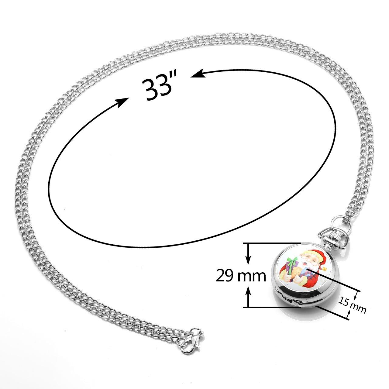 JSDDE Weihnachtsuhr Cute Weihnachtsmann Taschenuhr Klassische Modische Xmas Umhängeuhr Kettenuhr Quarz Uhren,#4