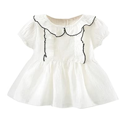 Suma-ma Summer Solid Color Short Sleeve Ruffled Princess Dress For Toddler Kids Baby Girl 6-24M