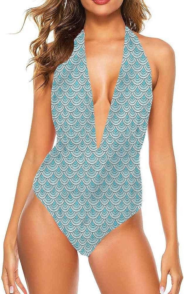 Maillot de bain sportif Aqua, Grunge courbes horizontales Idéal pour la piscine Party Multicolore 05
