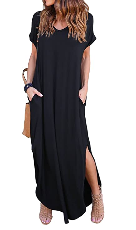 GRECERELLE Women's Casual Loose Pocket Long Dress Short Sleeve Split Maxi Dress Black M
