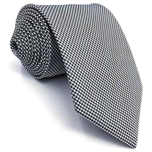 Shlax&Wing Mens Ties Houndstooth Black White Silk Necktie for Men Skinny Long