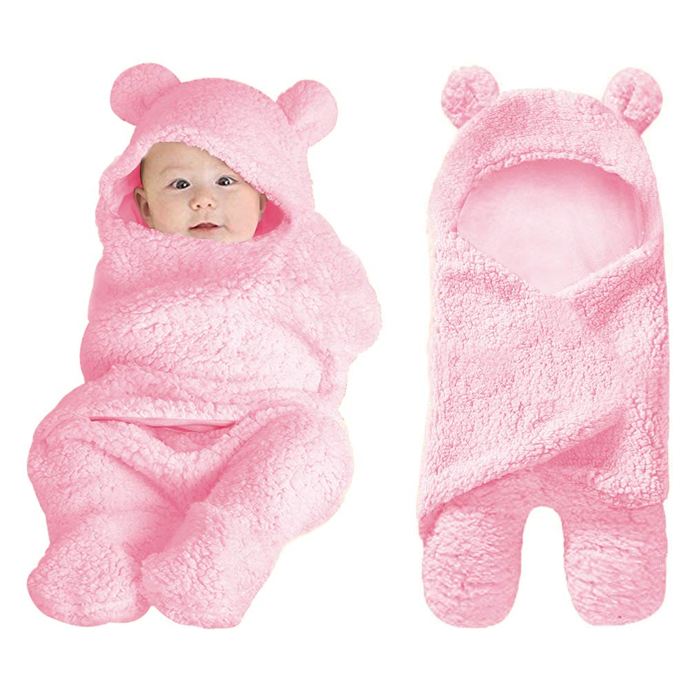 XMWEALTHY Cute Baby Items Newborn Plush Nersury Swaddle Blankets Soft Infant Girls Clothes Pink