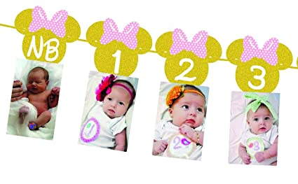 Minnie Mouse 12 Month Photo BannerGold Glitter Light Pink Bow