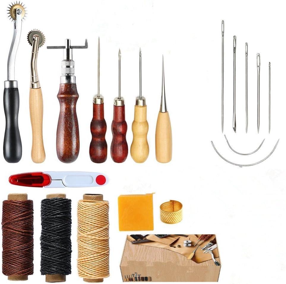 coser herramientas Kit de reparación 14 piezas para coser mano Craft DIY kit de costura a mano con Ranuradora punzón encerado hilo de dedal para costura, cuero, lona o otros proyectos de Leathercraft