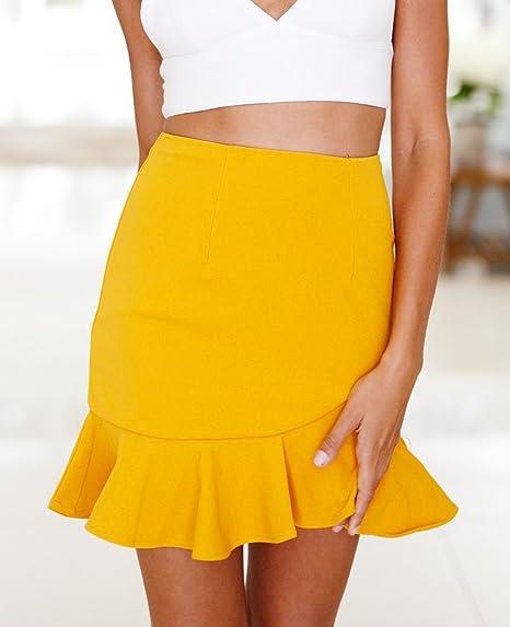 218d96e93 Mujer Faldas Cortas Verano Irregular Volantes Color Lindo Chic ...