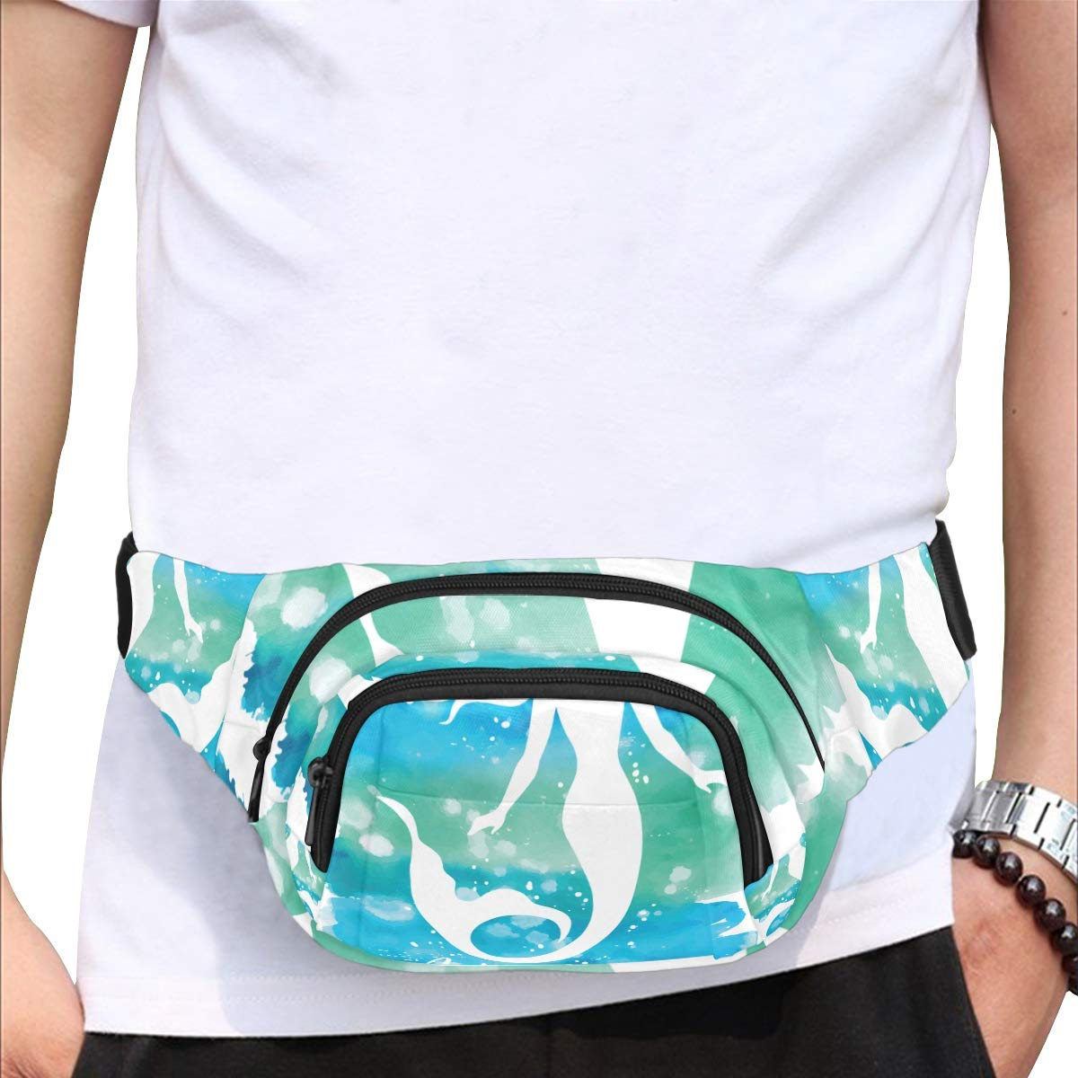 Beautiful Cute Mystical Mermaid Fenny Packs Waist Bags Adjustable Belt Waterproof Nylon Travel Running Sport Vacation Party For Men Women Boys Girls Kids