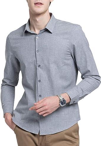 Camisa Hombre, Fibra Hombre, Manga Larga, Slim Fit, Camisa Elástica Casual/Formal para Hombre: Amazon.es: Ropa y accesorios