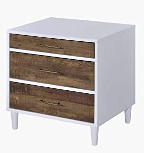 ACME Furniture Lurel Accent Table, White & Weathered Oak