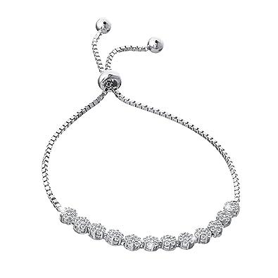 efea3a68ea7 Adjustable Women 925 Sterling Silver Cubic Zirconia Tennis Bracelet  Engagement Tennis Bracelet Jewelry Gift for Women