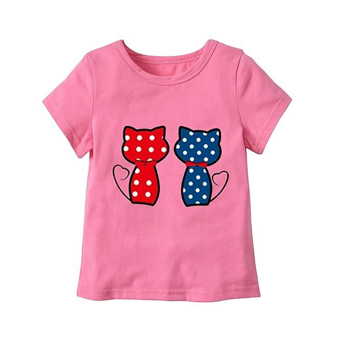 LENGIMA Niños pequeños Camiseta Gatos Patrones de Dibujos Animados ...