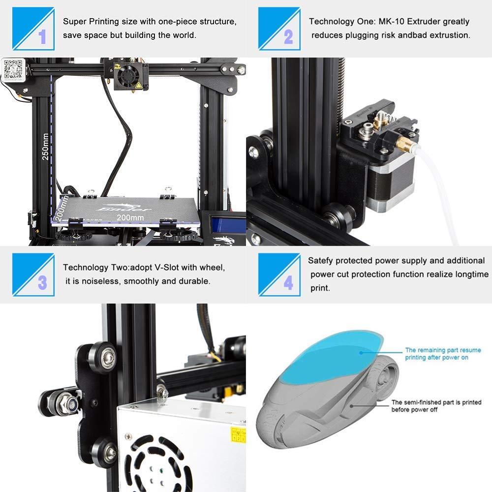 Creality 3D Tienda directa impresora 3D Ender 3 con 220 250 mm Tama/ño de impression 220