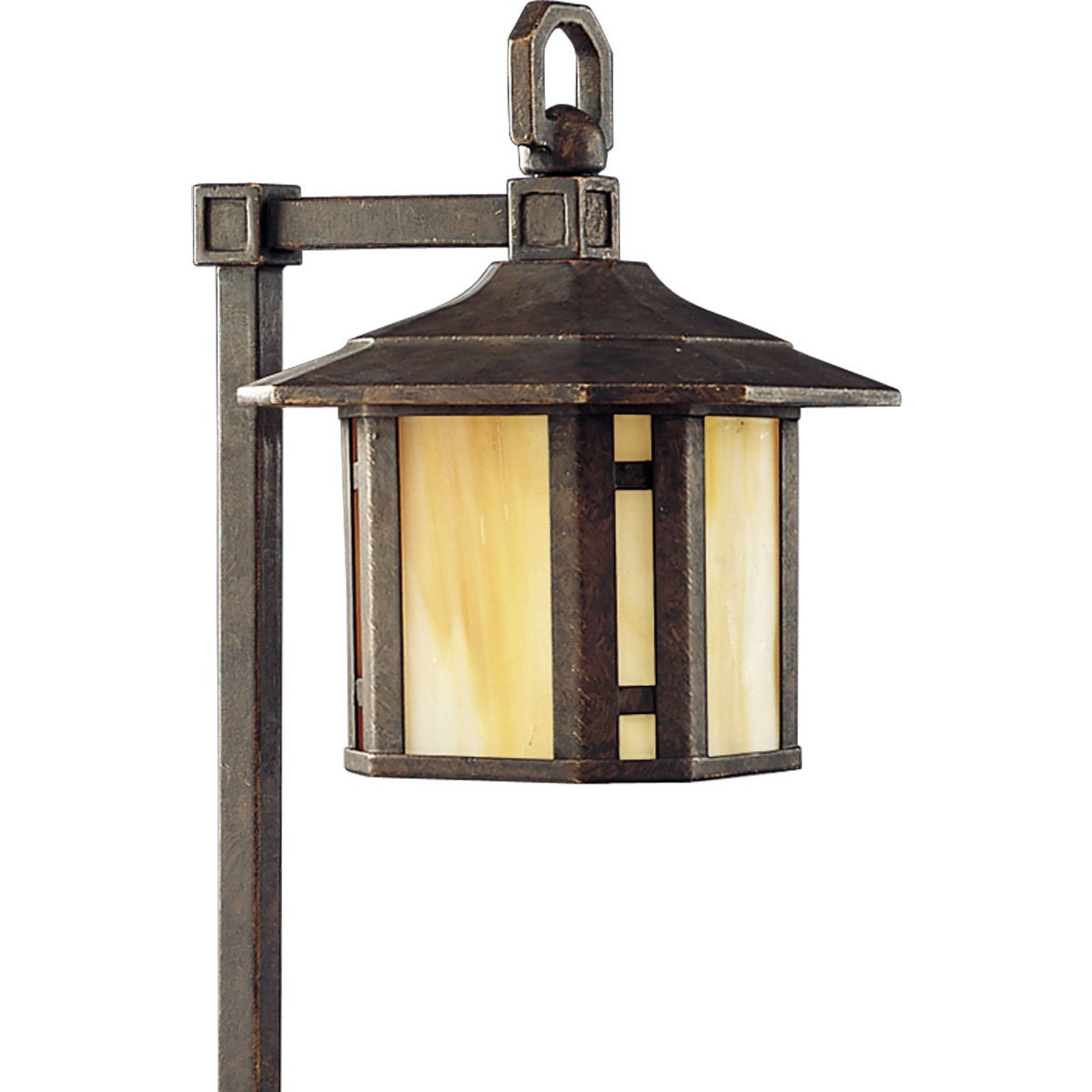 Progress Lighting P5272-46 1-Light Path Light with Honey Art Glass and Mica Accent Panels, Weathered Bronze