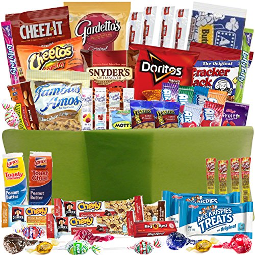 Care Package Gift Baskets with 52 Sweet and Salty Snacks - for College Students Gifts Military Appreciation Birthday Ideas - Send to Say Thank You Congratulations I Miss You or Thinking of You
