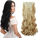 "REECHO 16"" Curly Wavy 4 Pieces Blonde Mixed Clip in on Hair Extensions 25H613"