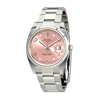 9c4eadd2f0c9 Image Unavailable. Image not available for. Color  Rolex Oyster Perpetual  Date 34 Pink Dial Stainless Steel Rolex Oyster Automatic Mens Watch  115234PADO