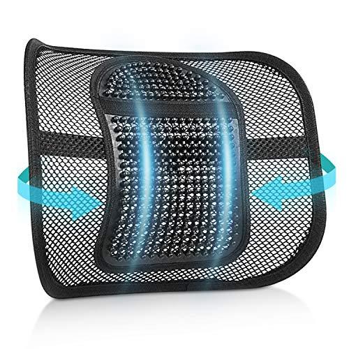 RenFox Cojin Lumbar Soporte para la Espalda Lumbar Soporte para Silla de Oficina Coche corrige la Postura Alivia el Dolor Lumbar (Black-1)