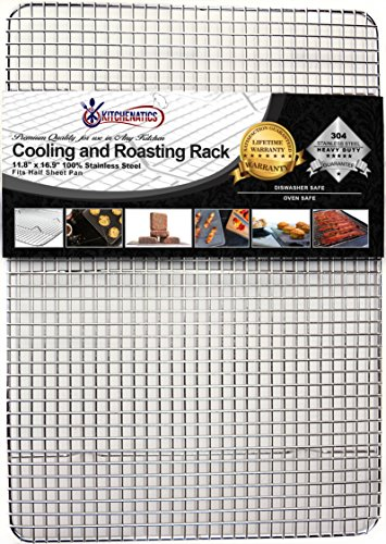 Kitchenatics Professional Grade Stainless Steel Cooling and Roasting Rack Wire Fits Half Sheet Baking Pan for Cookies, Cakes Oven-Safe for Cooking, Smoking, Grilling, BBQ - Heavy Duty Rust-Resistant (Cast Iron Chicken Egg Holder compare prices)