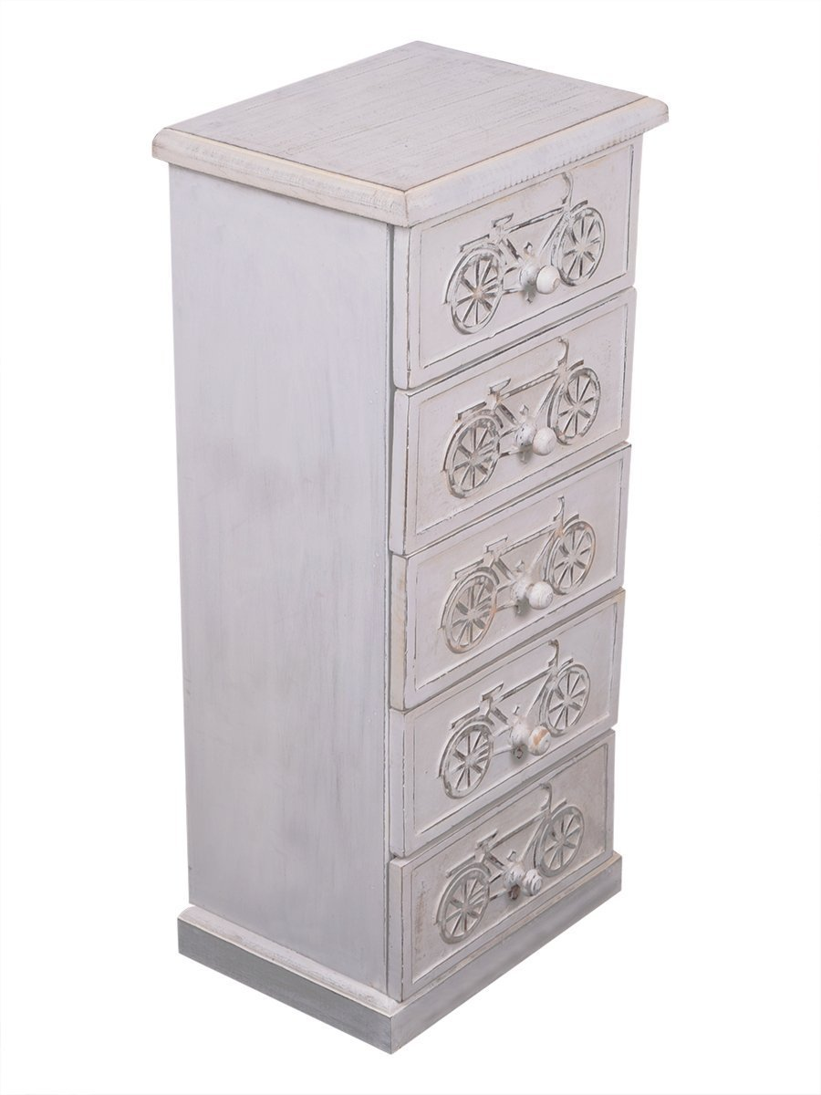 Christmas Gifts Wooden Armoire Storage Small Chest of 5 Drawers 26 Inches Long Furniture Bicycle Design Jewelry Trinkets Makeup Tools Accessories Holders Boxes White Distressed Finish