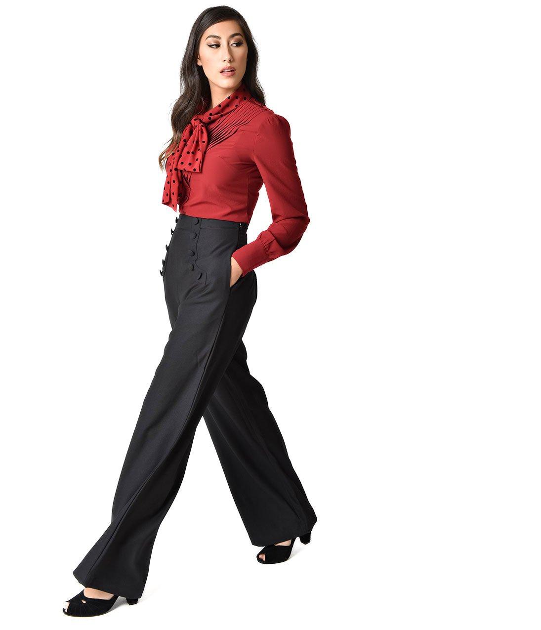 Unique Vintage Banned 1940s Style Black High Waist Crepe Full Moon Sailor Pants