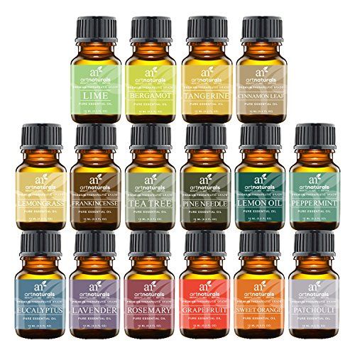 Art Naturals Aromatherapy Top 16 Essential Oil Kit - 100% Pure Therapeutic Grade - 2017 Premium Edition Sampler Gift Set - Contains 16 Pack of Essential Oils in 10ml Euro Dropper Glass Bottles (Young Oils Starter Kit compare prices)