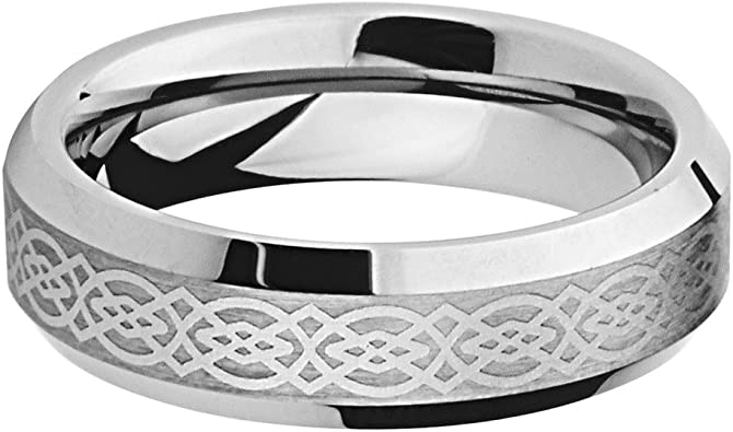 Size 8 to 12 Laser Engraving Service 6mm Carbon Fiber Inlay Tungsten Comfort-fit Wedding Band Ring