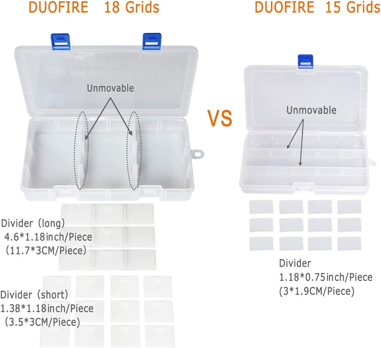 DUOFIRE Plastic Organizer Container Storage Box Adjustable Divider Removable Grid Compartment for Jewelry Beads Earring Tool Fishing Hook Small Accessories 18 grids, Pink-Blue