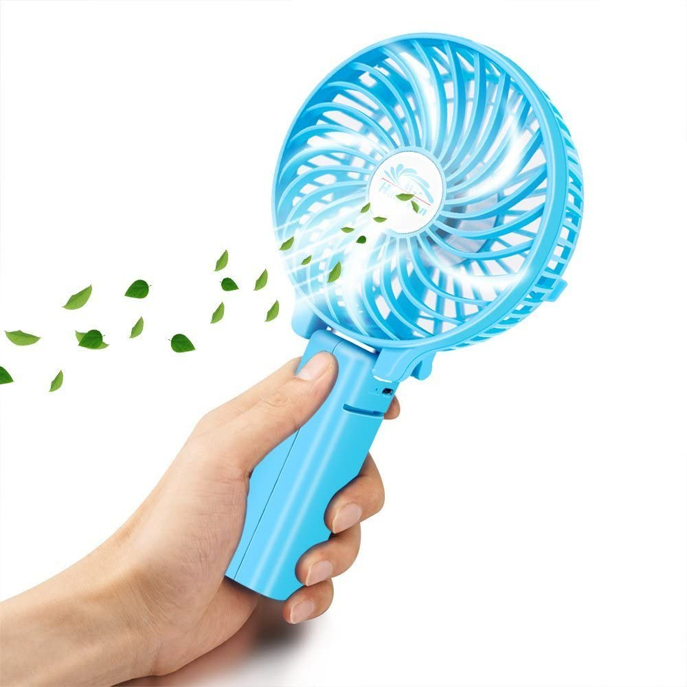 White Mini Portable and Handheld USB Fan,with Battery Recharge and Metal Clip,3speeds Adjustable