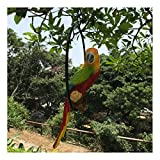 Hanging Parrot Statue Sculpture On Metal Round Ring Decor Patio Garden Lawn Nature Lovers Tropical Bird Collectors Gifts