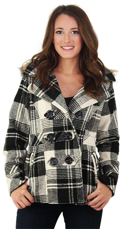 Dollhouse Heather Women's Double Breasted Peacoat Wool Coat