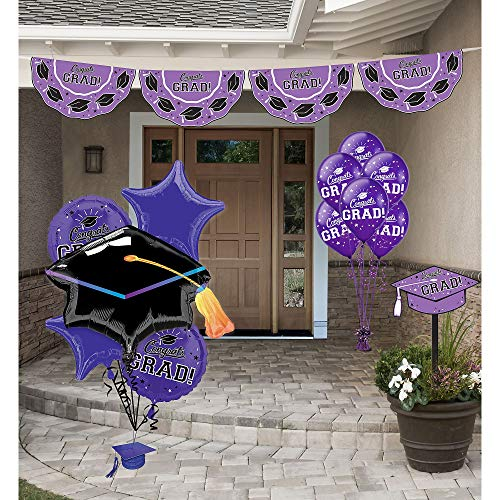 Party City Purple Congrats Grad 2019 Graduation Outdoor Decorating Supplies with Bunting, Yard Sign, Balloons, and More