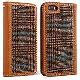 DesignSkin IP5WBTW4301 iPhone 5/5S/SE Case Wetherby Tweed 100% Handcrafted Genuine Leather with Fine Tweed Unique Design ID Credit Card Slot Paper Bill Storage Wallet Case - Glen Check/Brown