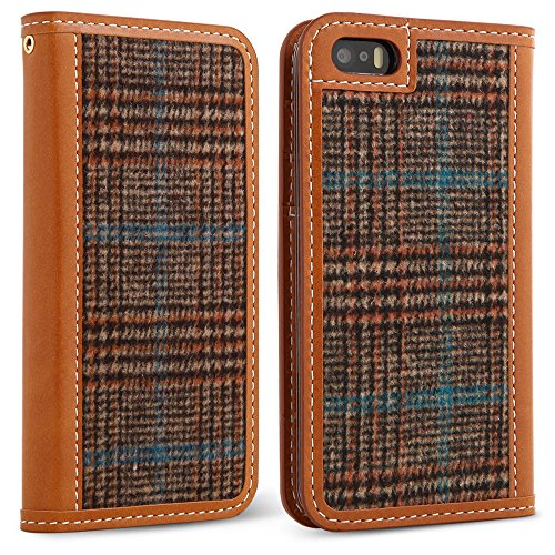 DesignSkin IP5WBTW4301 iPhone 5/5S/SE Case Wetherby Tweed 100% Handcrafted Genuine Leather with Fine Tweed Unique Design ID Credit Card Slot Paper Bill Storage Wallet Case - Glen Check/Brown