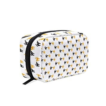 de7cfbc3d385 Makeup Bag for Portable Black And Yellow Cat ... - Amazon.com
