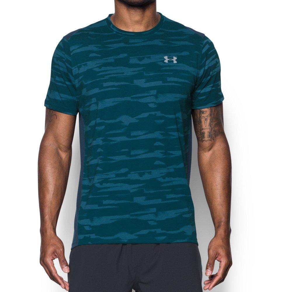 Under Armour Men's Threadborne Run Mesh Shorts Sleeve,Bayou Blue /Reflective, Small